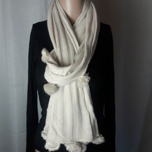 Oversized cream color knit scarf